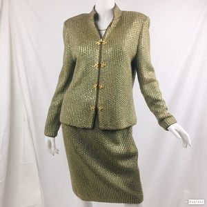 St. John Evening Marie Gray 10 gold paillette suit